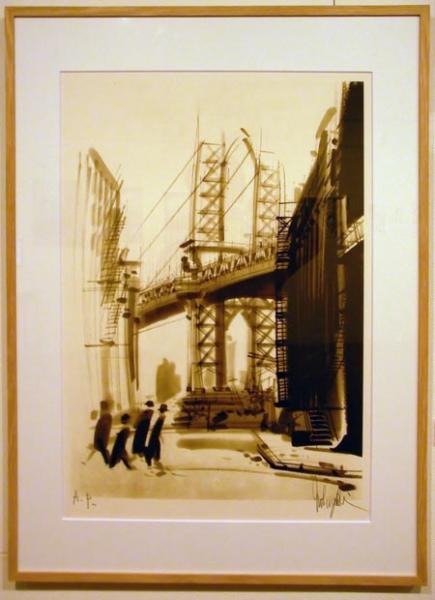 大西信之さんの墨絵のような橋の絵