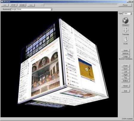 3Dブラウザー6面にWebサイトを表示