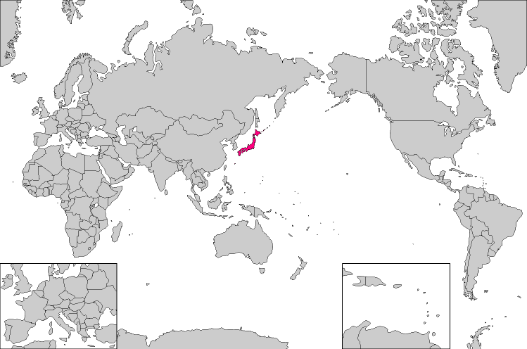 Japan Map in the World : 世界地図 白地図 無料 : 世界地図