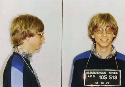若気の至りな頃のビル・ゲイツさんの逮捕写真にょ。
