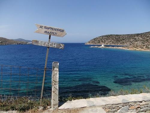 アモルゴス_ビーチの標識