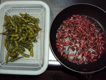 炒り落花生と茹で大豆