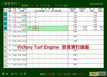 Victory Turf Engine投資実行画面