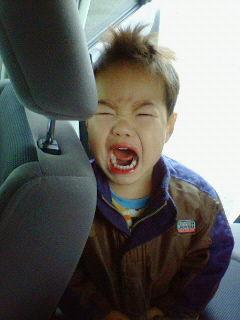 怒られると思って中々車から降りないゆいくん。
