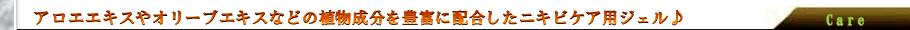 アロエエキスやオリーブエキスなどの植物成分を豊富に配合したニキビケア用ジェル。