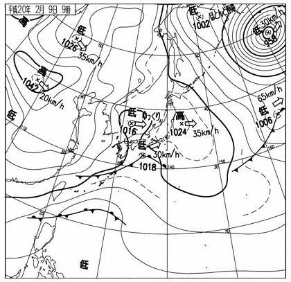 2008年2月9日09時 天気図 c
