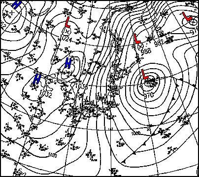 1997年1月22日09時 天気図