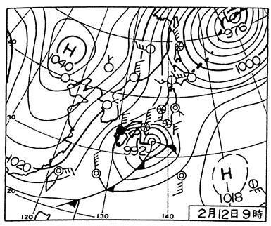 1994年2月12日09時 天気図