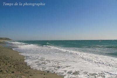 砂浜と波の残した泡