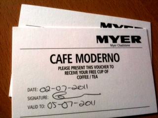 myer coffee voucher