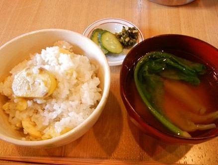 栗ご飯とすぐき菜のお味噌汁
