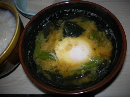 ホウレン草と玉子の味噌汁