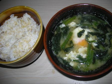 ホウレン草の味噌汁1