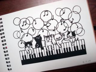 切り絵~ピアノ