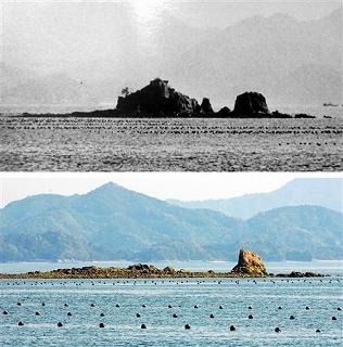 約 50年前 ( 上 ) と、現在 ( 下 ) の 「 ホボロ島 」