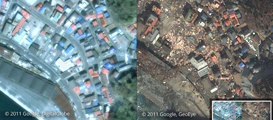 岩手県釜石市 津波による被災前(左) 被災後(右)
