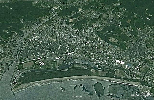 陸前高田、津波前(2005)