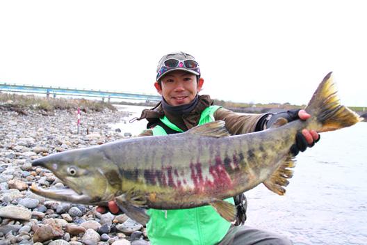 荒川鮭釣り フライマン 雨にも霙にも負けず