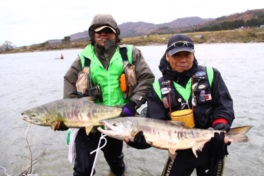 荒川鮭釣り 12月 雨にも霙にも負けず