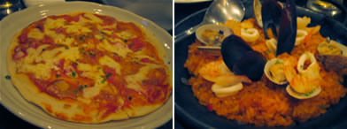 ピザとパエリヤ