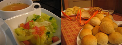 ランチにはスープとサラダ付き