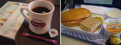 毎度のコーヒーと機内食