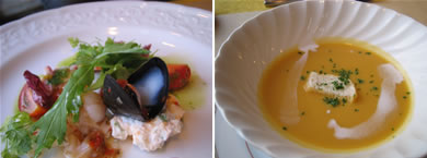 お魚コースの前菜&スープ
