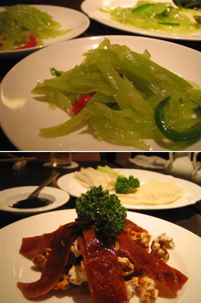 茎レタスの炒め物と北京ダック