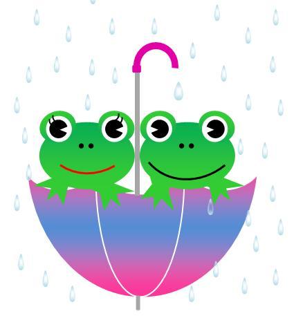 傘とカエル