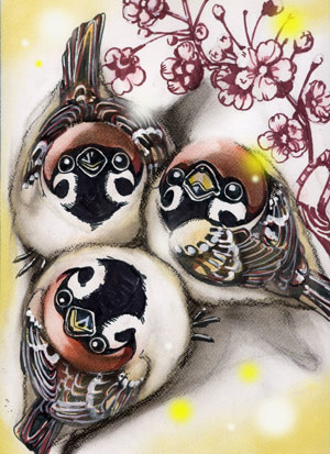 梅を見上げる雀三羽WEB