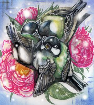 山茶花とシジュウカラWEB