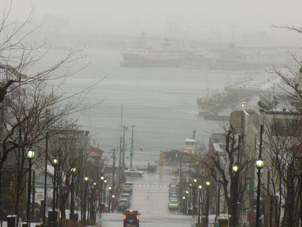 八幡坂と雨の函館港