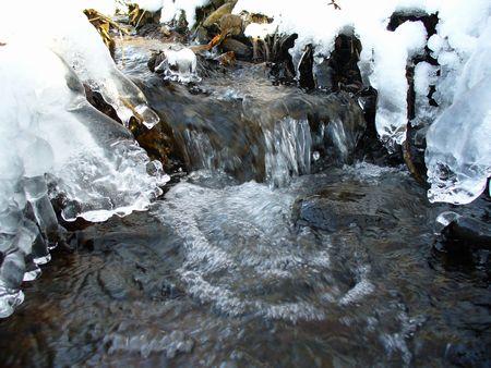 冬の小川と氷