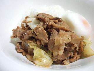豚キャべ丼~温玉のっけ