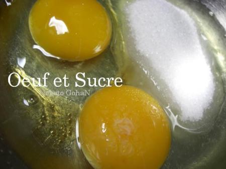 ボウルに卵とグラニュー糖を合わせて・・・