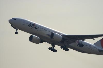JAL B777-246 Airborne@猪名川西側土手