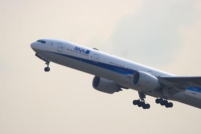 ANA B777-381ER Airborne@猪名川西側土手
