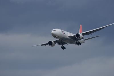JAL B777-246 RWY14Rファイナルアプローチ@猪名川土手