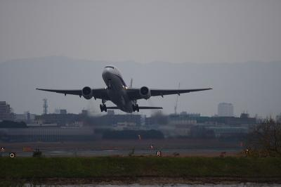 ANA B777-281 Airborne@猪名川西側土手