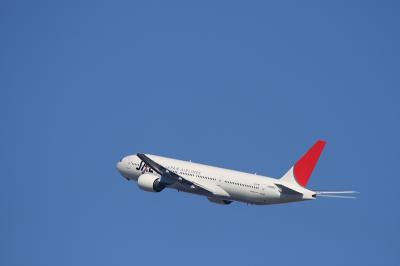 JAL B777-246 Departure@イオンモール屋上パーキング(by EF100-400)