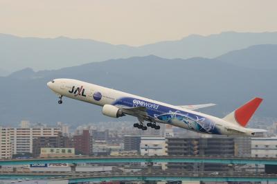 JAL B777-346 OneWorld RWY16 Airborne@アクシオン