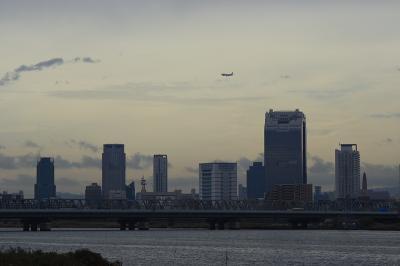 大阪都心と淀川 with JAL B777-246@淀川大橋