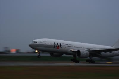 JAL B777-246 Landing@スカイランドHARADA(EF28-90/SS:1/25)