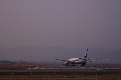 ANA B777-281 Lineup Runway@千里川土手