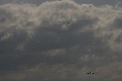 南東の空with ANA B777-281 NH15@RWY14Rエンド