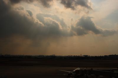 ANA A320&雲間から差す陽の光@伊丹空港展望デッキ ラ・ソーラ