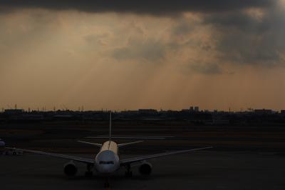ANA B777-281 NH27&雲間から差す陽の光その参@伊丹空港展望デッキ ラ・ソーラ
