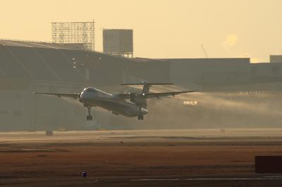 ANA DHC8-Q400 NH1601@RWY14Rエンド(by EF100-400)