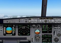 FS2004 ANA A320 NH423 Cockpit 広島上空