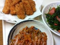 納豆イカキムチとカジキフライ